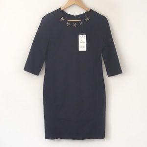 Zara Denim Stretch Midi Dress